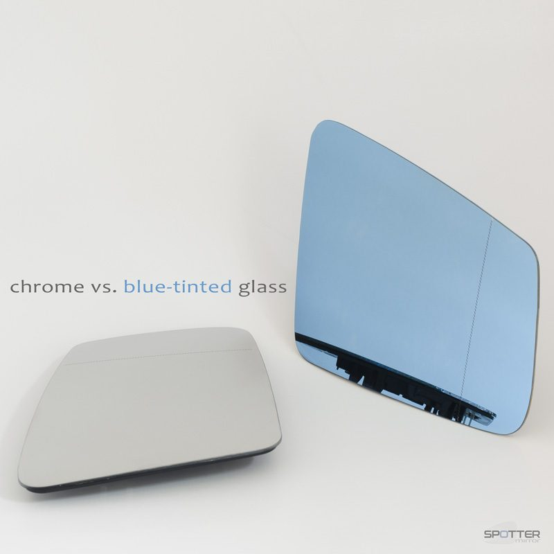Mercedes W204 C216 C217 C218 W212 X156 X204 W221 mirror glass blue tinted passenger right vs chrome