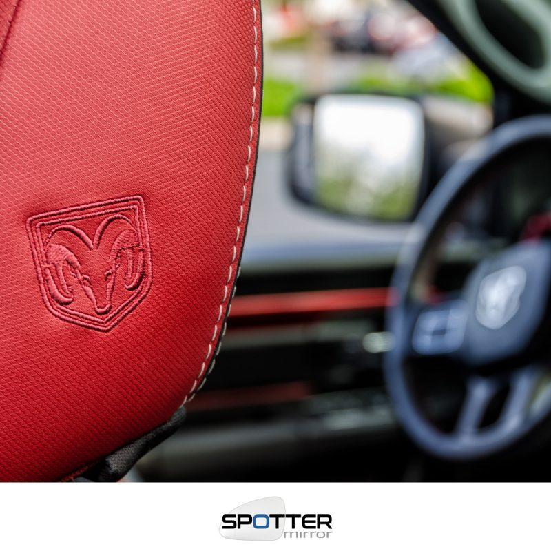 RAM logo on red headrest