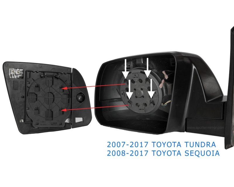 Toyota Tundra Sequoia Mirror Glass Installation Diagram LH